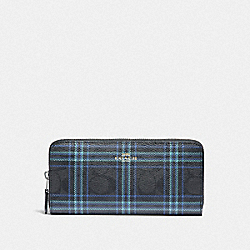 SLIM ACCORDION ZIP WALLET IN SIGNATURE CANVAS WITH SHIRTING PLAID PRINT - F87718 - SV/BLACK NAVY MUTLI