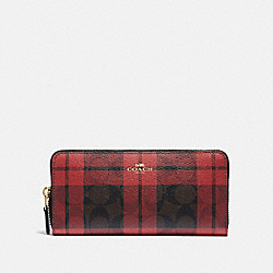 SLIM ACCORDION ZIP WALLET IN SIGNATURE CANVAS WITH FIELD PLAID PRINT - F87719 - IM/BROWN TRUE RED MULTI