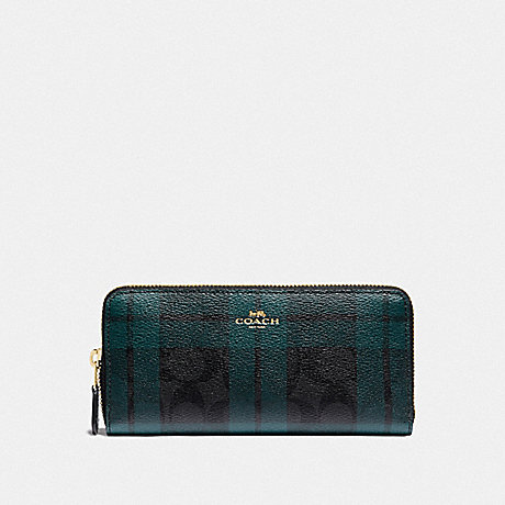 COACH F87719 SLIM ACCORDION ZIP WALLET IN SIGNATURE CANVAS WITH FIELD PLAID PRINT IM/BLACK/DEEP OCEAN MULTI