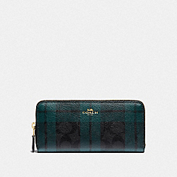 SLIM ACCORDION ZIP WALLET IN SIGNATURE CANVAS WITH FIELD PLAID PRINT - F87719 - IM/BLACK/DEEP OCEAN MULTI