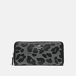 SLIM ACCORDION ZIP WALLET WITH LEOPARD PRINT - F87721 - SV/GREY