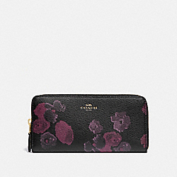 COACH F87722 Slim Accordion Zip Wallet With Halftone Floral Print IM/BLACK WINE