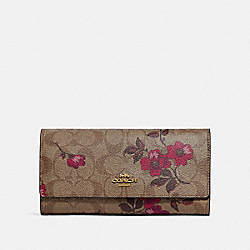 TRIFOLD WALLET IN SIGNATURE CANVAS WITH VICTORIAN FLORAL PRINT - F87726 - IM/KHAKI BERRY MULTI