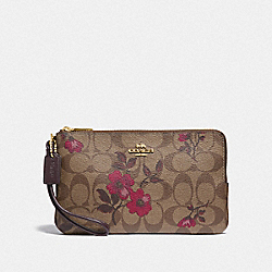 DOUBLE ZIP WALLET IN SIGNATURE CANVAS WITH VICTORIAN FLORAL PRINT - F87729 - IM/KHAKI BERRY MULTI