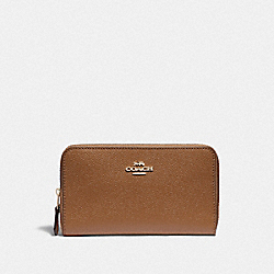COACH F87735 Medium Zip Around Wallet IM/LIGHT SADDLE