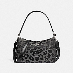 COACH F87756 - LEWIS SHOULDER BAG WITH LEOPARD PRINT SV/GREY