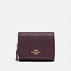 COACH F87760 Small Trifold Wallet IM/RASPBERRY/METALLIC WINE