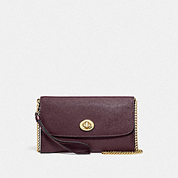 CHAIN CROSSBODY - F87763 - IM/RASPBERRY/METALLIC WINE