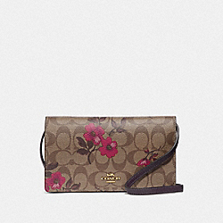HAYDEN FOLDOVER CROSSBODY CLUTCH IN SIGNATURE CANVAS WITH VICTORIAN FLORAL PRINT - F87765 - IM/KHAKI BERRY MULTI