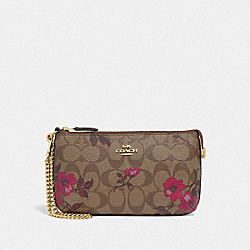 LARGE WRISTLET IN SIGNATURE CANVAS WITH VICTORIAN FLORAL PRINT - F87771 - IM/KHAKI BERRY MULTI