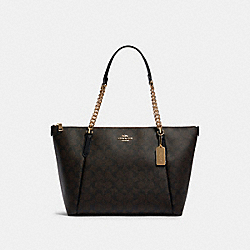 COACH F87776 - AVA CHAIN TOTE IN SIGNATURE CANVAS IM/BROWN/BLACK
