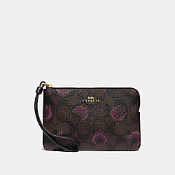 COACH F87777 Corner Zip Wristlet In Signature Canvas With Moon Print IM/BROWN PURPLE MULTI