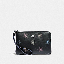 COACH F87778 Corner Zip Wristlet With Dot Star Print SV/BLACK MULTI