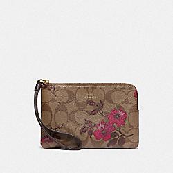 CORNER ZIP WRISTLET IN SIGNATURE CANVAS WITH VICTORIAN FLORAL PRINT - F87780 - IM/KHAKI BERRY MULTI