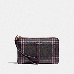 COACH F87782 Corner Zip Wristlet In Signature Canvas With Shirting Plaid Print IM/BROWN FUCHSIA MULTI