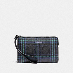 COACH F87782 Corner Zip Wristlet In Signature Canvas With Shirting Plaid Print SV/BLACK NAVY MUTLI