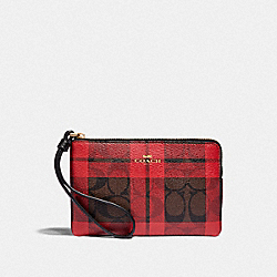 COACH F87783 Corner Zip Wristlet In Signature Canvas With Field Plaid Print IM/BROWN TRUE RED MULTI