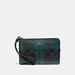 COACH F87783 Corner Zip Wristlet In Signature Canvas With Field Plaid Print IM/BLACK/DEEP OCEAN MULTI
