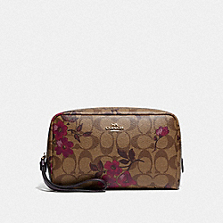 BOXY COSMETIC CASE IN SIGNATURE CANVAS WITH VICTORIAN FLORAL PRINT - F87788 - IM/KHAKI BERRY MULTI