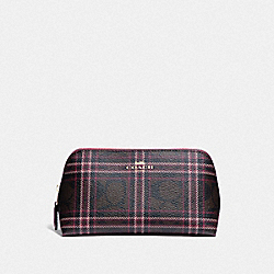 COACH F87790 Cosmetic Case 17 In Signature Canvas With Shirting Plaid Print IM/BROWN FUCHSIA MULTI
