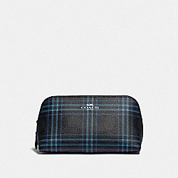 COACH F87790 Cosmetic Case 17 In Signature Canvas With Shirting Plaid Print SV/BLACK NAVY MUTLI