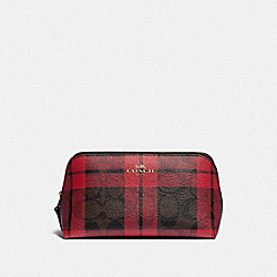 COACH F87791 Cosmetic Case 17 In Signature Canvas With Field Plaid Print IM/BROWN TRUE RED MULTI