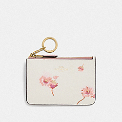 KEY CASE WITH MULTI FLORAL PRINT - F87793 - IM/CHALK MULTI