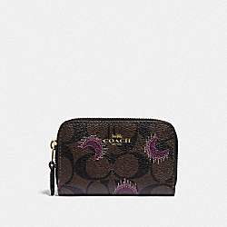 ZIP AROUND COIN CASE IN SIGNATURE CANVAS WITH MOON PRINT - F87794 - IM/BROWN PURPLE MULTI