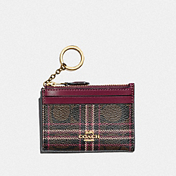 MINI SKINNY ID CASE IN SIGNATURE CANVAS WITH SHIRTING PLAID PRINT - F87798 - IM/BROWN FUCHSIA MULTI