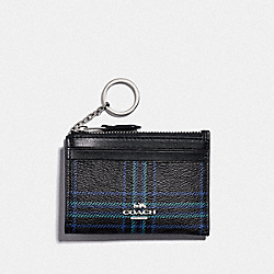 MINI SKINNY ID CASE IN SIGNATURE CANVAS WITH SHIRTING PLAID PRINT - F87798 - SV/BLACK NAVY MUTLI