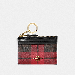 COACH F87799 Mini Skinny Id Case In Signature Canvas With Field Plaid Print IM/BROWN TRUE RED MULTI