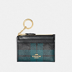 MINI SKINNY ID CASE IN SIGNATURE CANVAS WITH FIELD PLAID PRINT - F87799 - IM/BLACK/DEEP OCEAN MULTI
