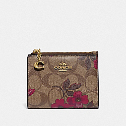 SNAP CARD CASE IN SIGNATURE CANVAS WITH VICTORIAN FLORAL PRINT - F87803 - IM/KHAKI BERRY MULTI