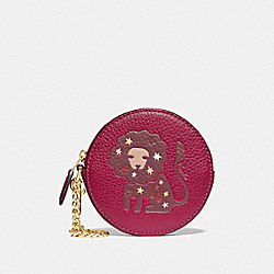 COACH F87809 Round Coin Case With Leo IM/DARK FUCHSIA