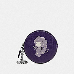 COACH F87810 Round Coin Case With Virgo SV/DARK PURPLE