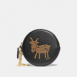 COACH F87814 - ROUND COIN CASE WITH CAPRICORN IM/BLACK