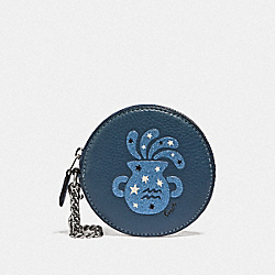 COACH F87815 Round Coin Case With Aquarius SV/DENIM/DARK DENIM