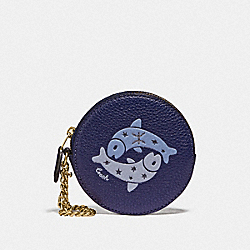 COACH F87816 Round Coin Case With Pisces IM/CADET