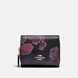 COACH F87828 - SMALL TRIFOLD WALLET WITH HALFTONE FLORAL PRINT IM/BLACK WINE