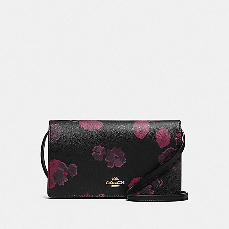 COACH F87829 HAYDEN FOLDOVER CROSSBODY CLUTCH WITH HALFTONE FLORAL PRINT IM/BLACK-WINE