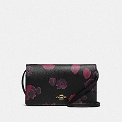 HAYDEN FOLDOVER CROSSBODY CLUTCH WITH HALFTONE FLORAL PRINT - F87829 - IM/BLACK WINE