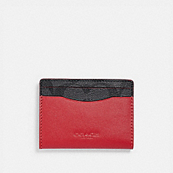 COACH F87843 - MAGNETIC CARD CASE IN SIGNATURE CANVAS QB/CHARCOAL SPORT RED