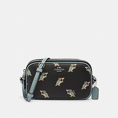 COACH CROSSBODY POUCH WITH PARTY OWL PRINT - SV/BLACK MULTI - F87846