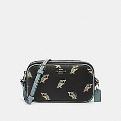 CROSSBODY POUCH WITH PARTY OWL PRINT - F87846 - SV/BLACK MULTI