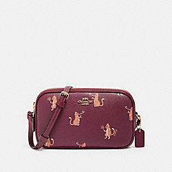 COACH F87847 Crossbody Pouch With Party Cat Print IM/DARK BERRY MULTI