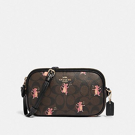 COACH CROSSBODY POUCH IN SIGNATURE CANVAS WITH PARTY MOUSE PRINT - IM/BROWN PINK MULTI - F87849