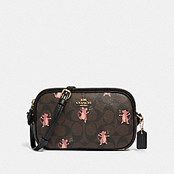 CROSSBODY POUCH IN SIGNATURE CANVAS WITH PARTY MOUSE PRINT - F87849 - IM/BROWN PINK MULTI