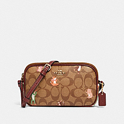 COACH F87850 Crossbody Pouch In Signature Canvas With Party Animals Print IM/KHAKI PINK MULTI