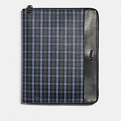 COACH F87854 - TECH CASE WITH TINY CLASSIC PLAID PRINT QB/NAVY