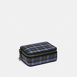 COACH F87855 - PILL BOX WITH TINY CLASSIC PLAID PRINT QB/NAVY